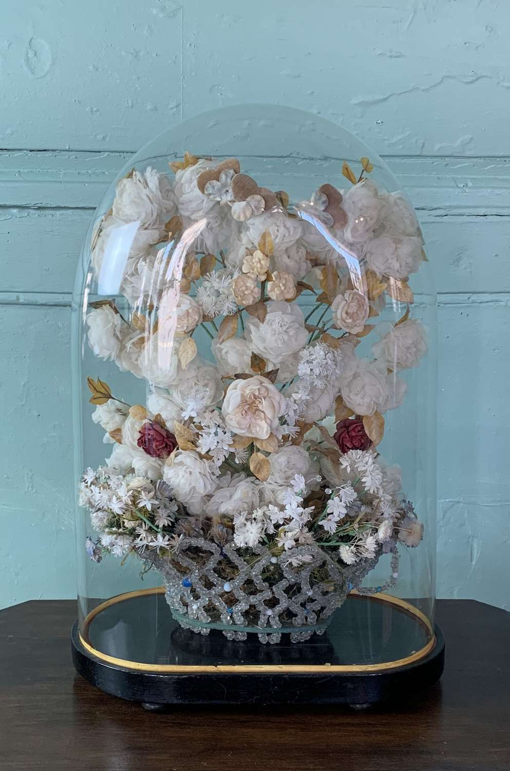 Victorian Glass Dome With Glass Basket & Silk Flower Display