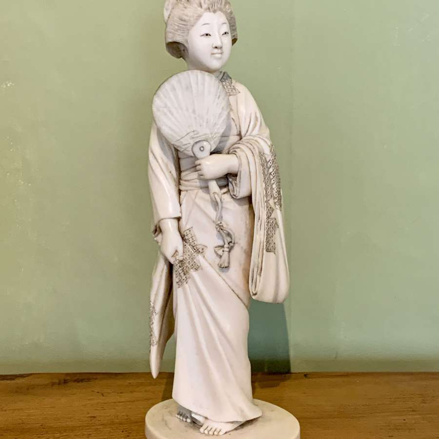 Japanese Carved Ivory Okimono of a Geisha