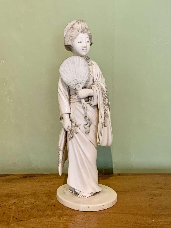 Japanese Carved Ivory Okimono of a Geisha
