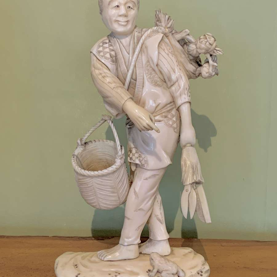 Japanese Meiji Carved Ivory Okimono of a Gardener