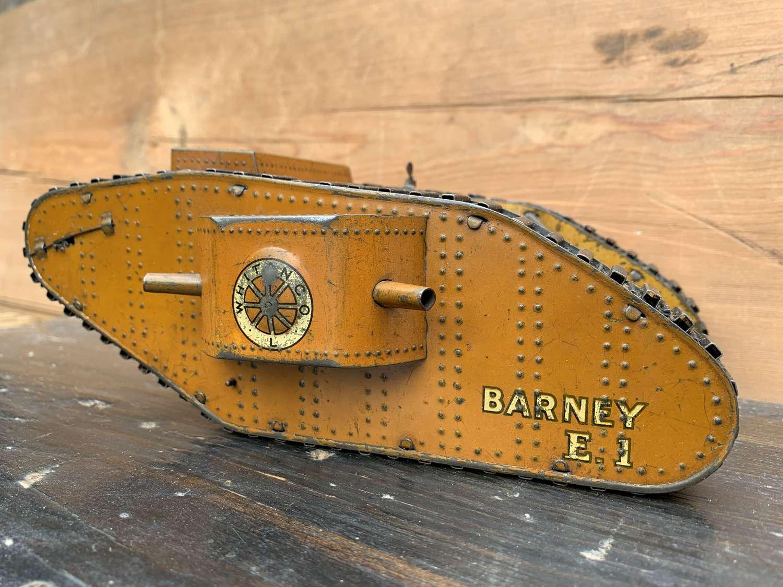Rare Whitanco Barney E1 WWI Tinplate Clockwork Tank circa 1919