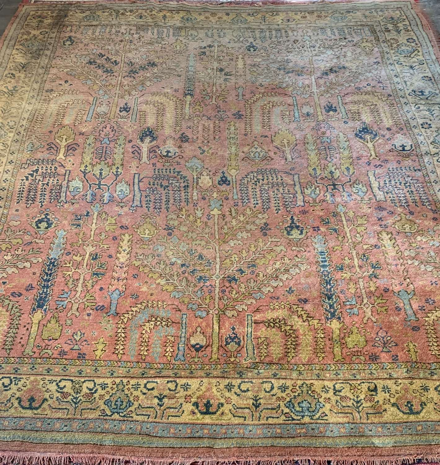 Large Antique Ushak Willow Tree Carpet