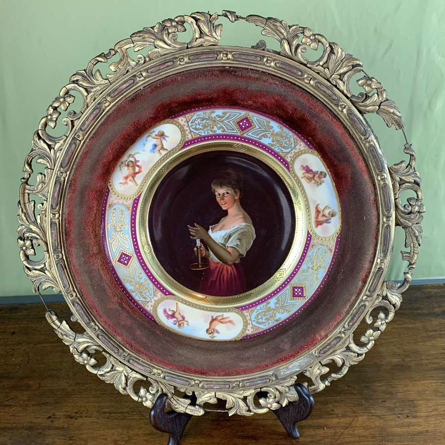 Vienna Hand Painted Porcelain Plate titled 'Gute Nacht'