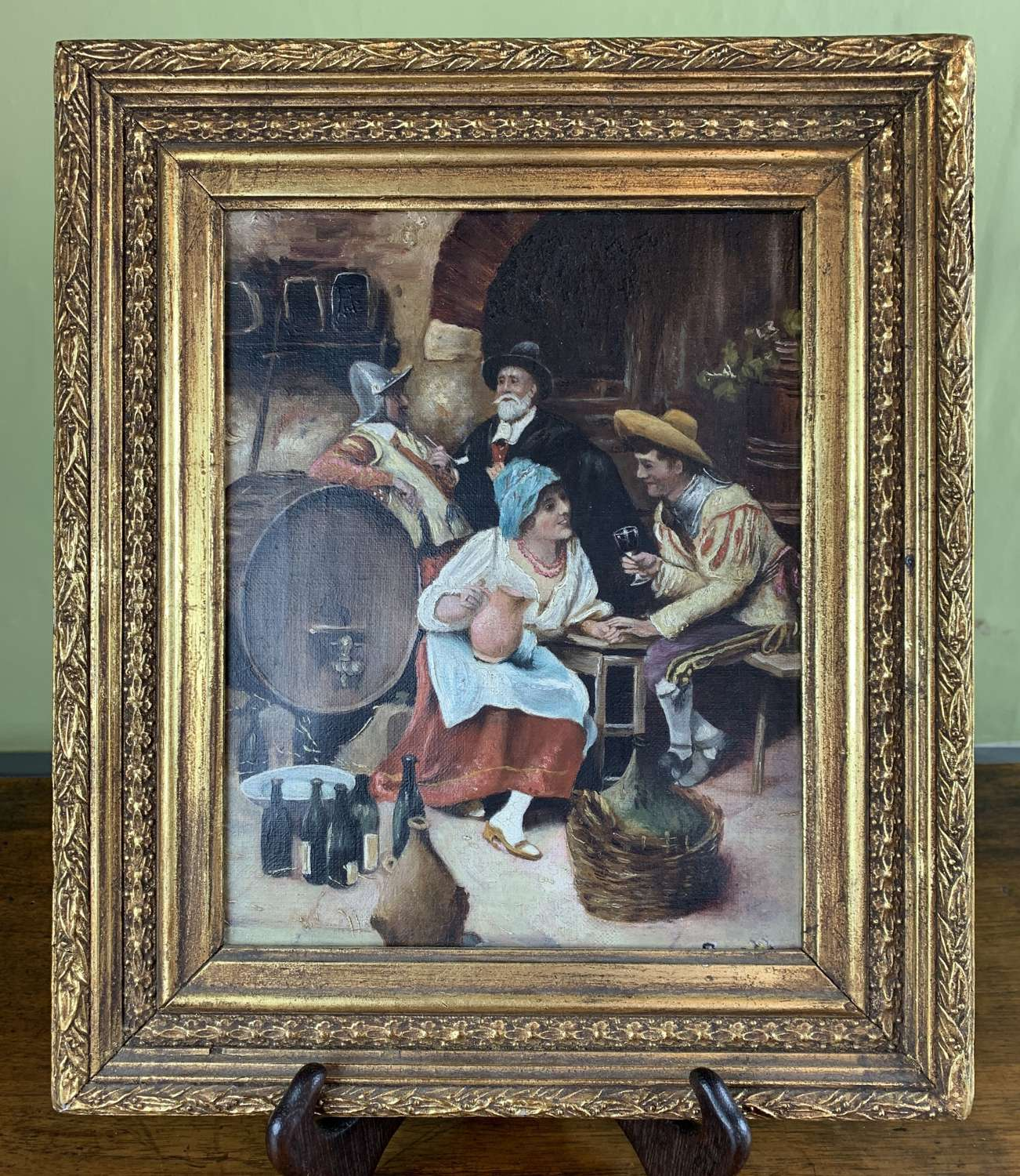 Interior Tavern Scene Oil on Canvas