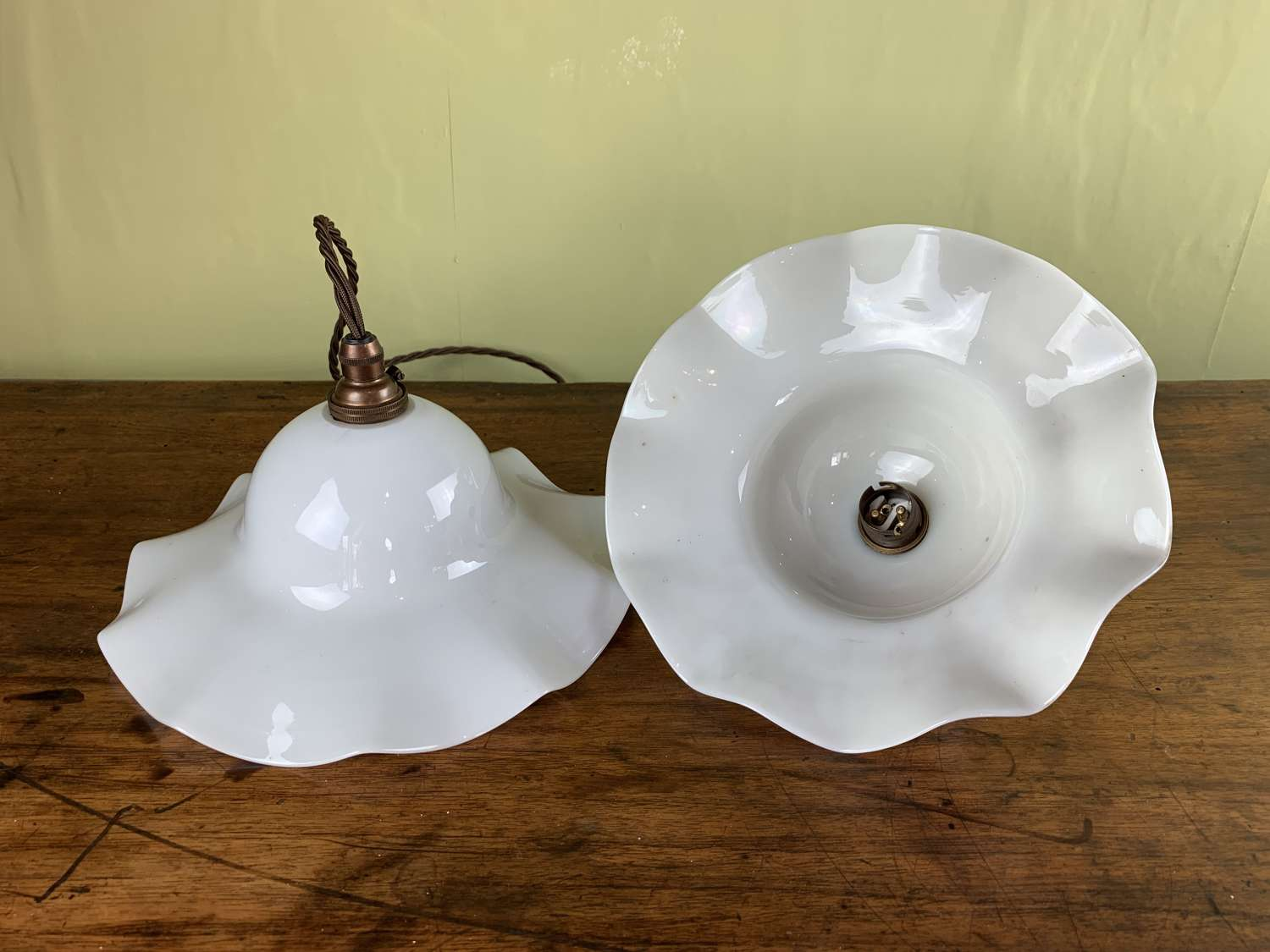 Pair of Vintage French Opaline Glass Pendant Lights