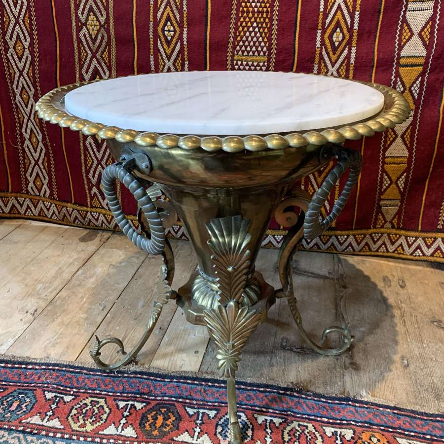 Middle Eastern Brass Brazier Side Table