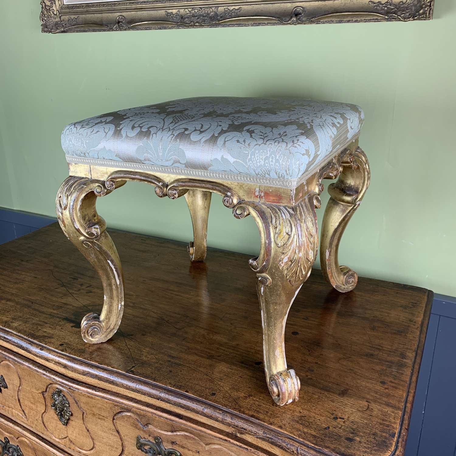 Antique Carved Giltwood Stool
