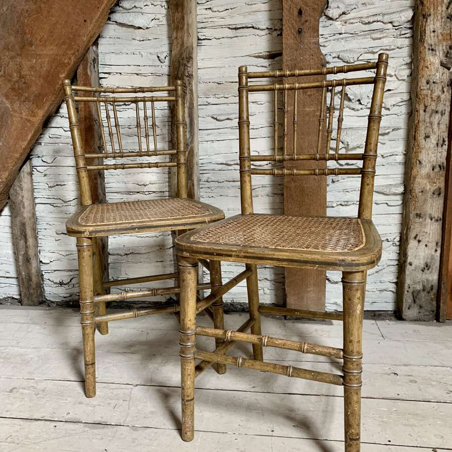 Pair of Regency Faux Bamboo Chairs in Original Paint