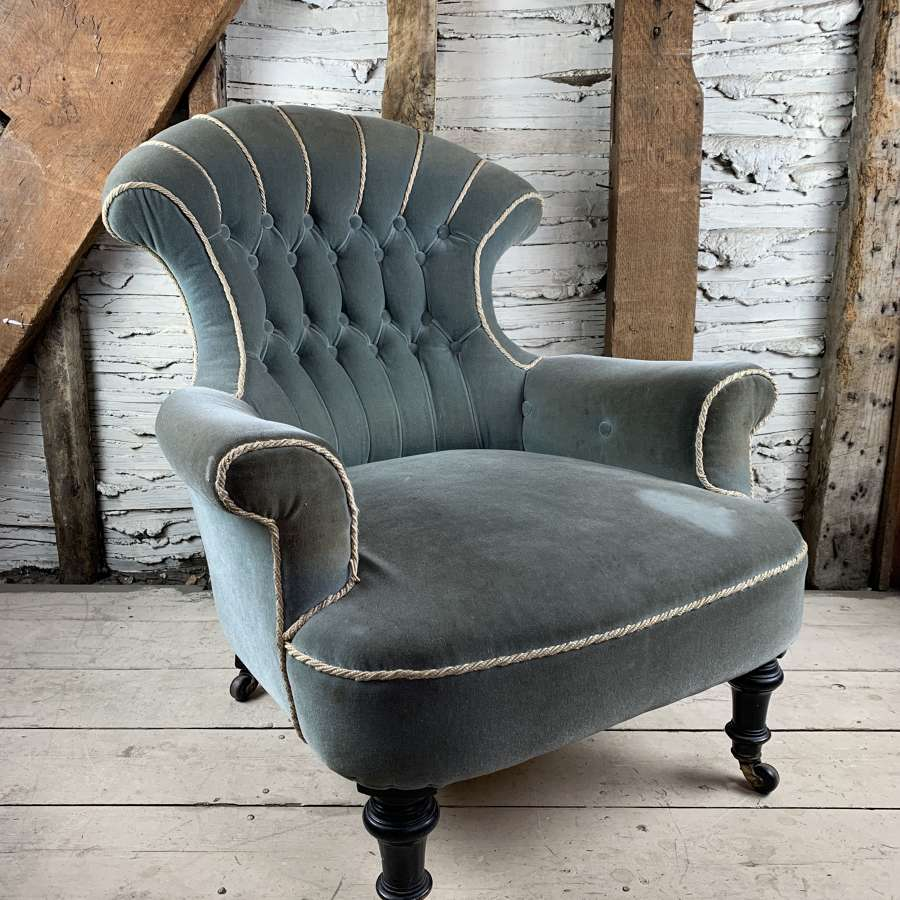 Antique Armchair with Fan Shaped Button Back