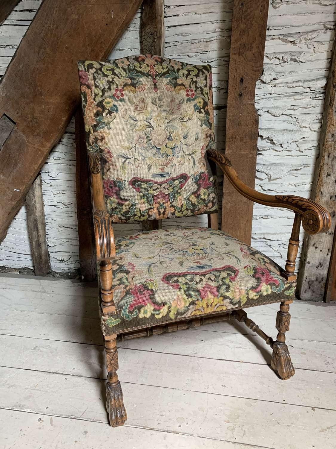 Carolean Style Armchair with Needlework Upholstery