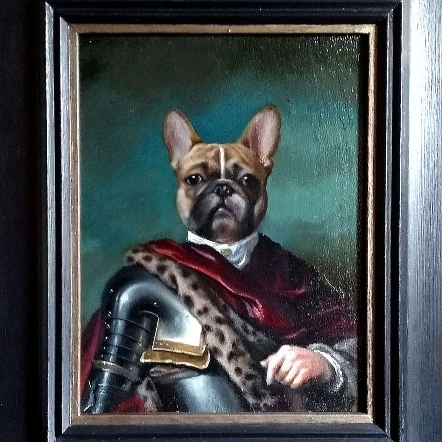'Le Roi du Monde' - Anthropomorphic Oil Painting of French Bulldog