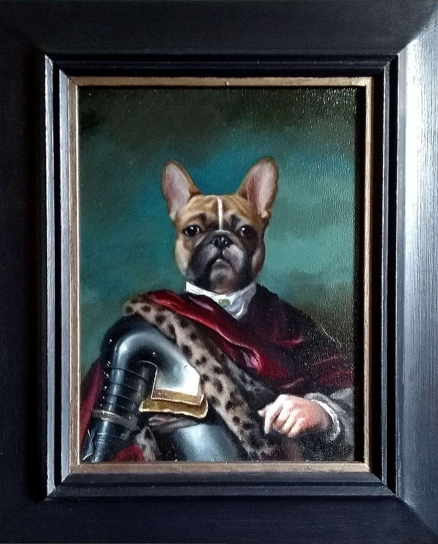 'Le Roi du Monde' - Anthropomorphic Oil Painting of French Bulldog
