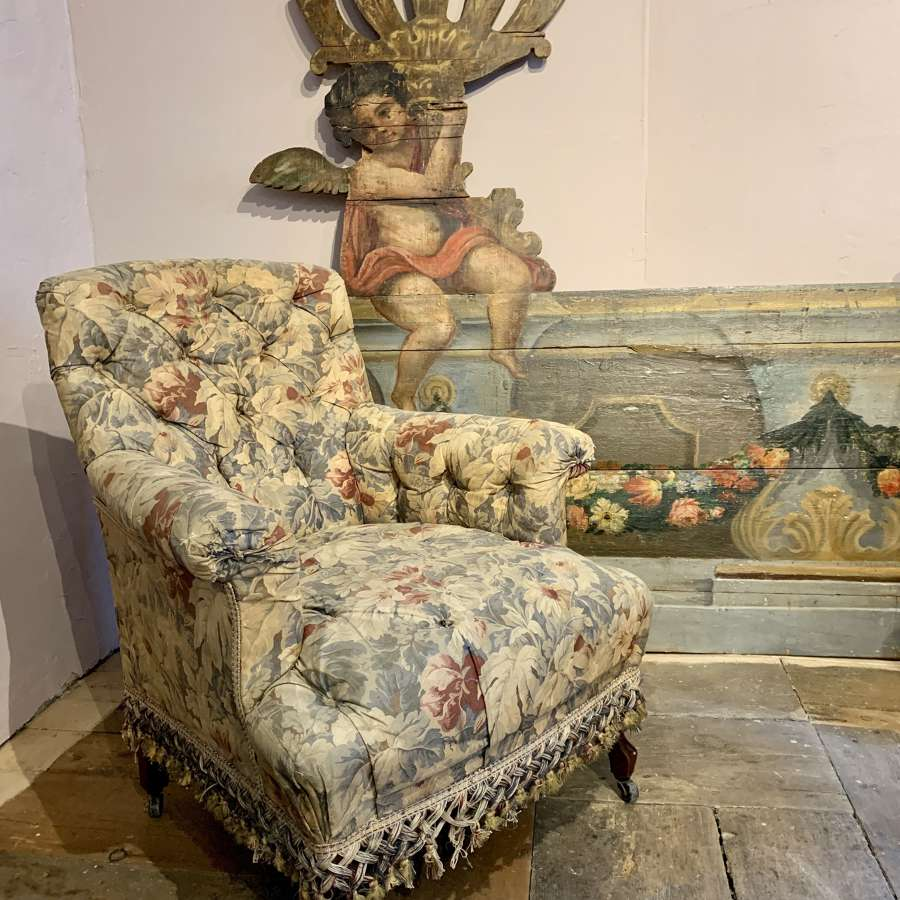 Victorian Country House Button Upholstered Chintz Armchair