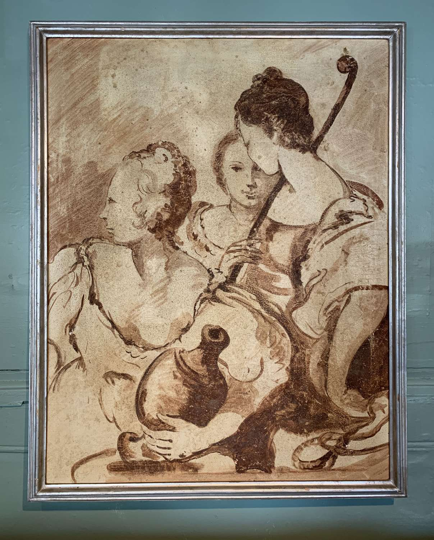 Italian School, Three Figures in Renaissance Style, Oil on Canvas