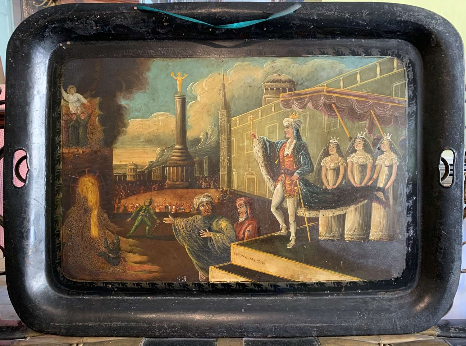 Early Victorian Hand Painted Toleware Tray with a Biblical Scene