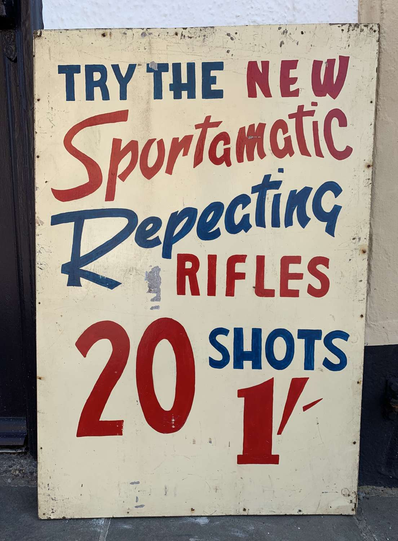1950's Hand Painted Fairground Rifle Range Sign