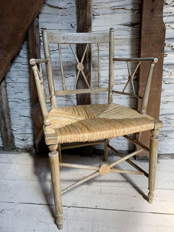 Regency Rush Seated Armchair in Original Paint