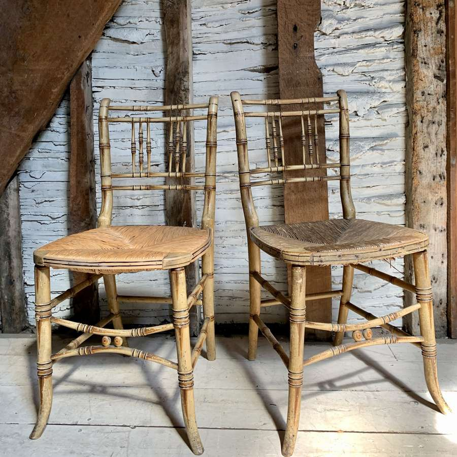Pair of Regency Faux Bamboo Side Chairs in Original Paint