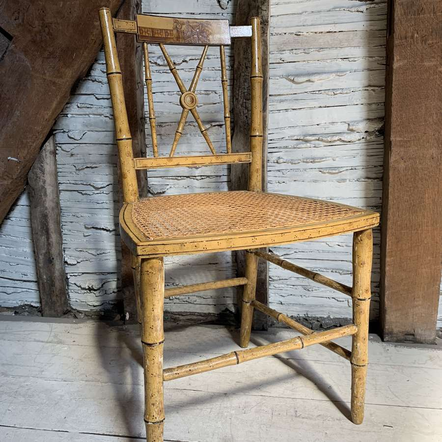 Regency Painted Faux Bamboo Chinoiserie Side Chair