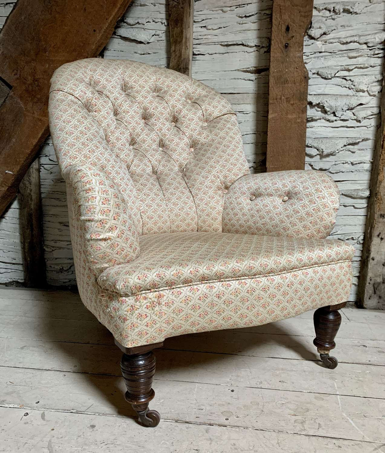 Antique Button Back Upholstered Armchair