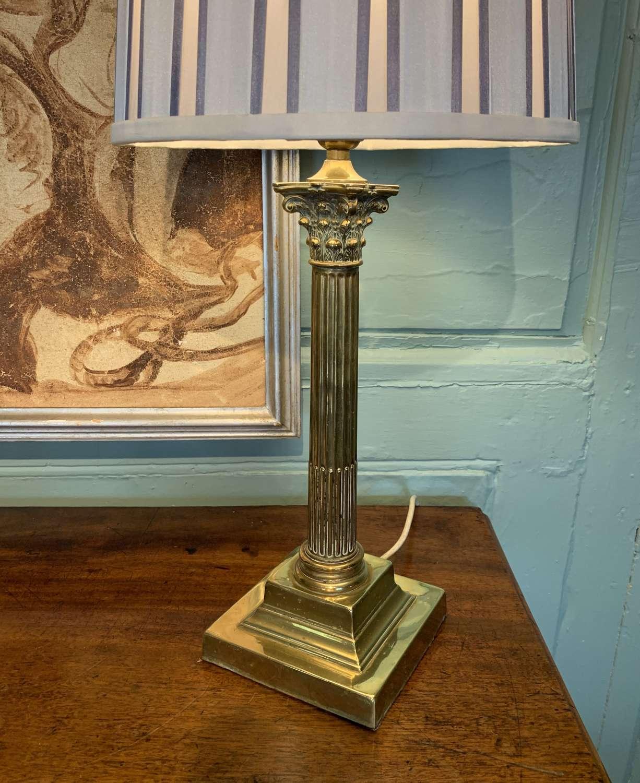 Antique Edwardian Brass Corinthian Column Table Lamp