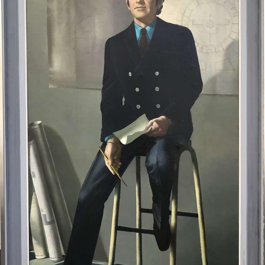 Anna Zinkeisen Oil on Canvas Portrait of an Architect