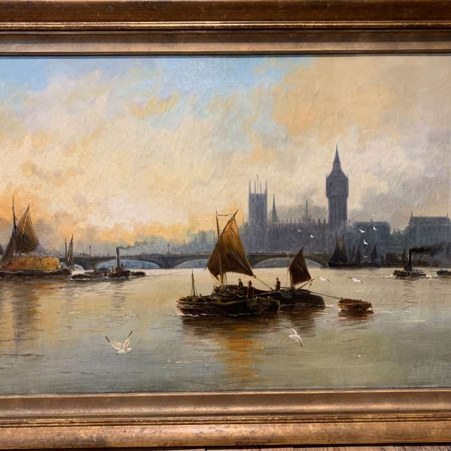 Edwin Henry Eugene Fletcher, A Pair of Oils of The Thames