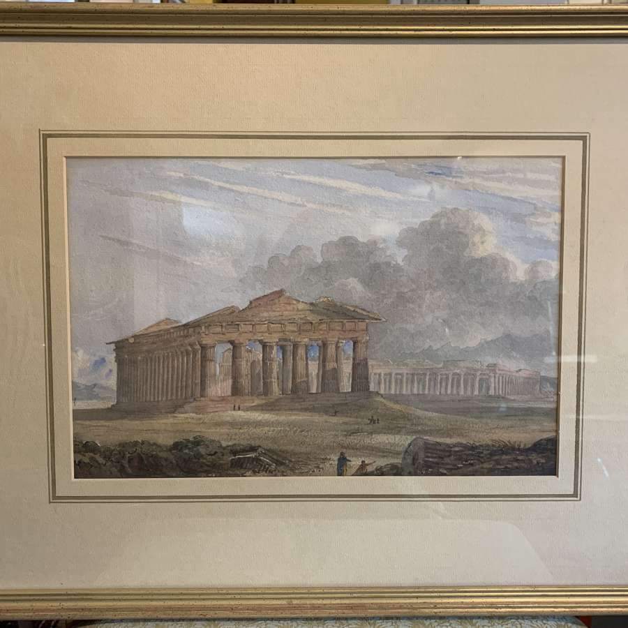 19th Century Watercolour of The Temple of Neptune, Paestum