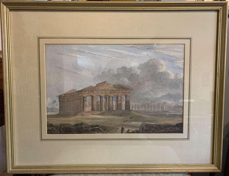 19th Century Watercolour of The Temple of Neptune, Paestum