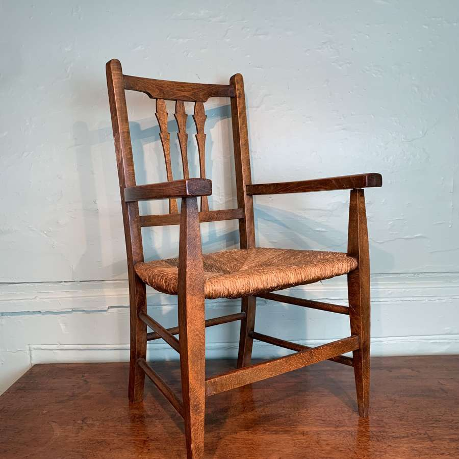 Antique Rush Seated Child's Armchair