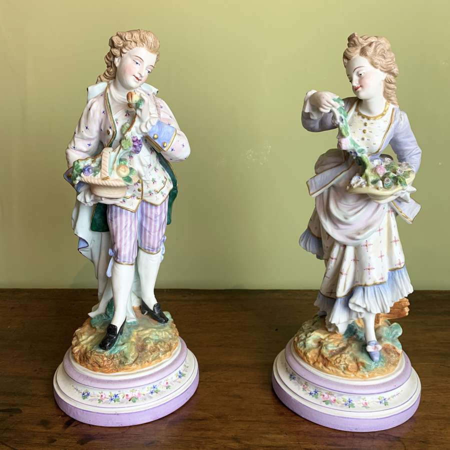 Pair of French Bisque Porcelain Figures