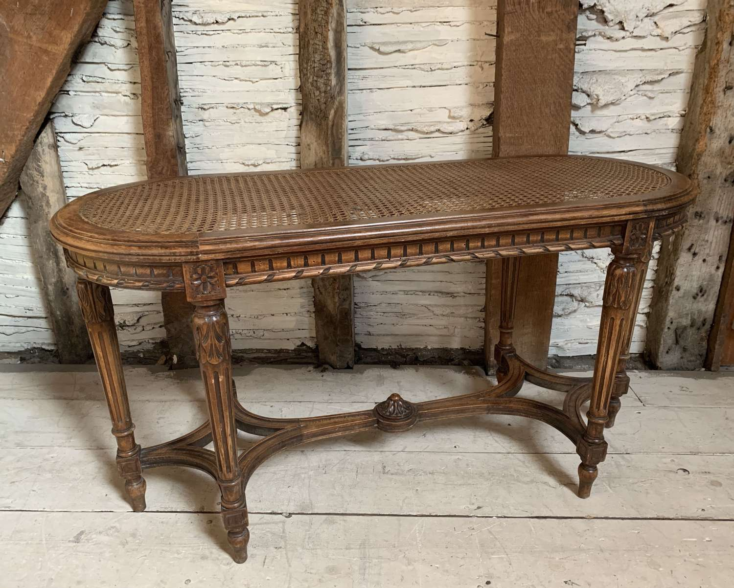French Louis XVI Style Long Stool with Cane Seat