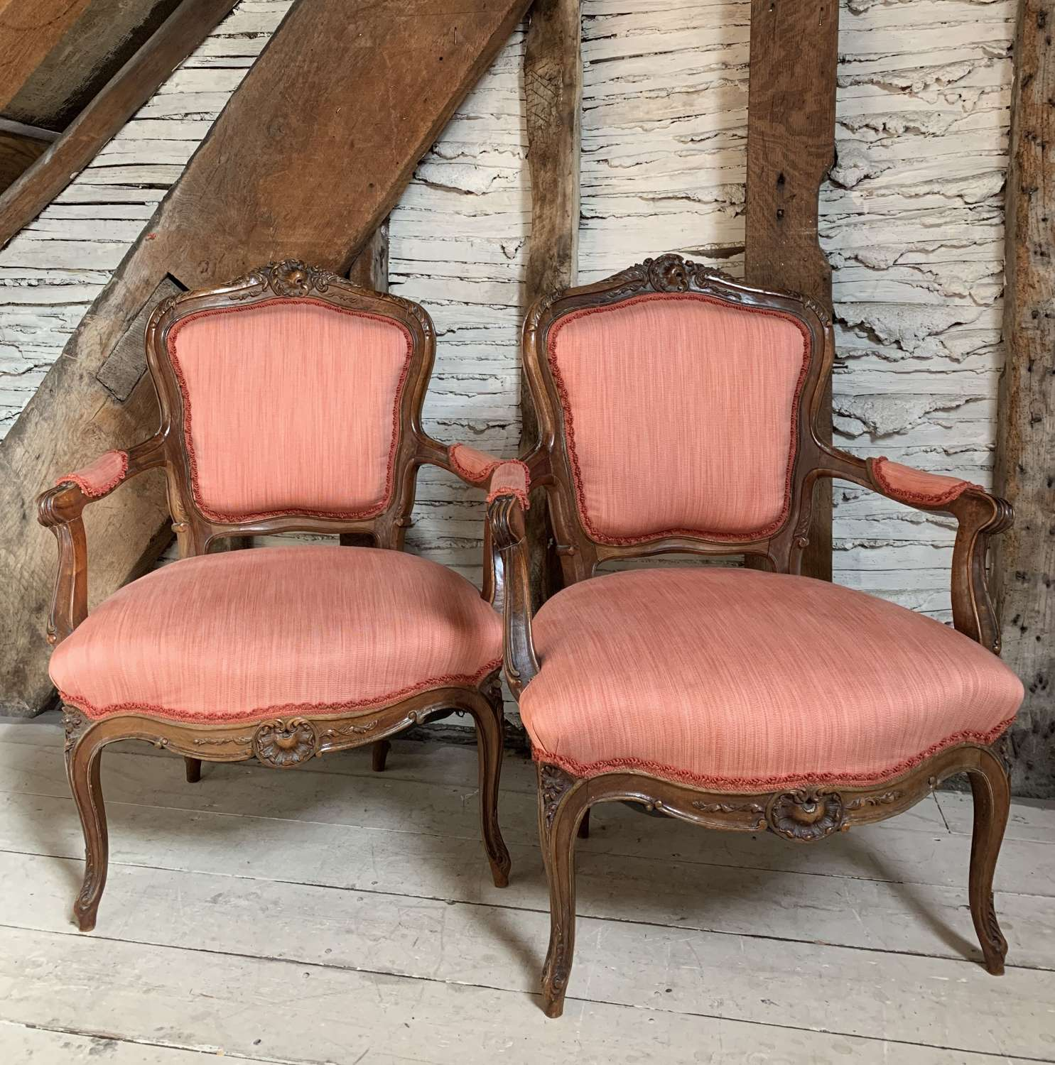 Pair of 19th Century French Fauteuil in Louis XV Style