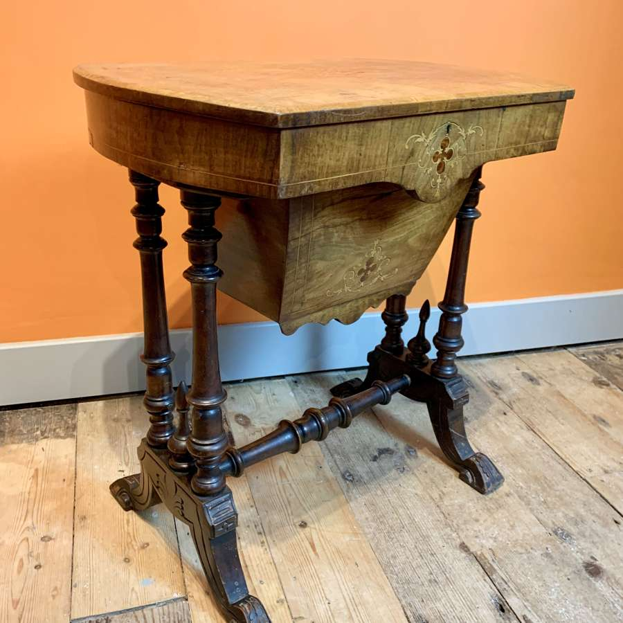 Victorian Inlaid Walnut Sewing Table