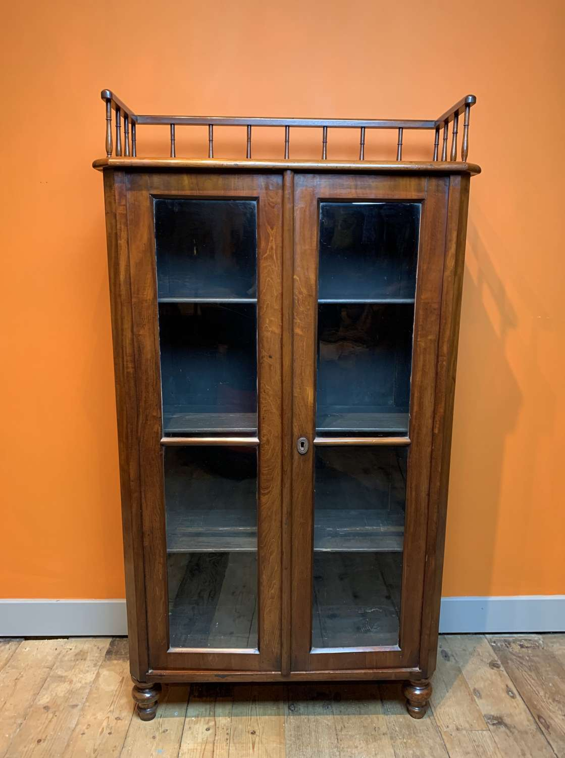 Continental Mahogany Bookcase Cabinet with Gallery Top