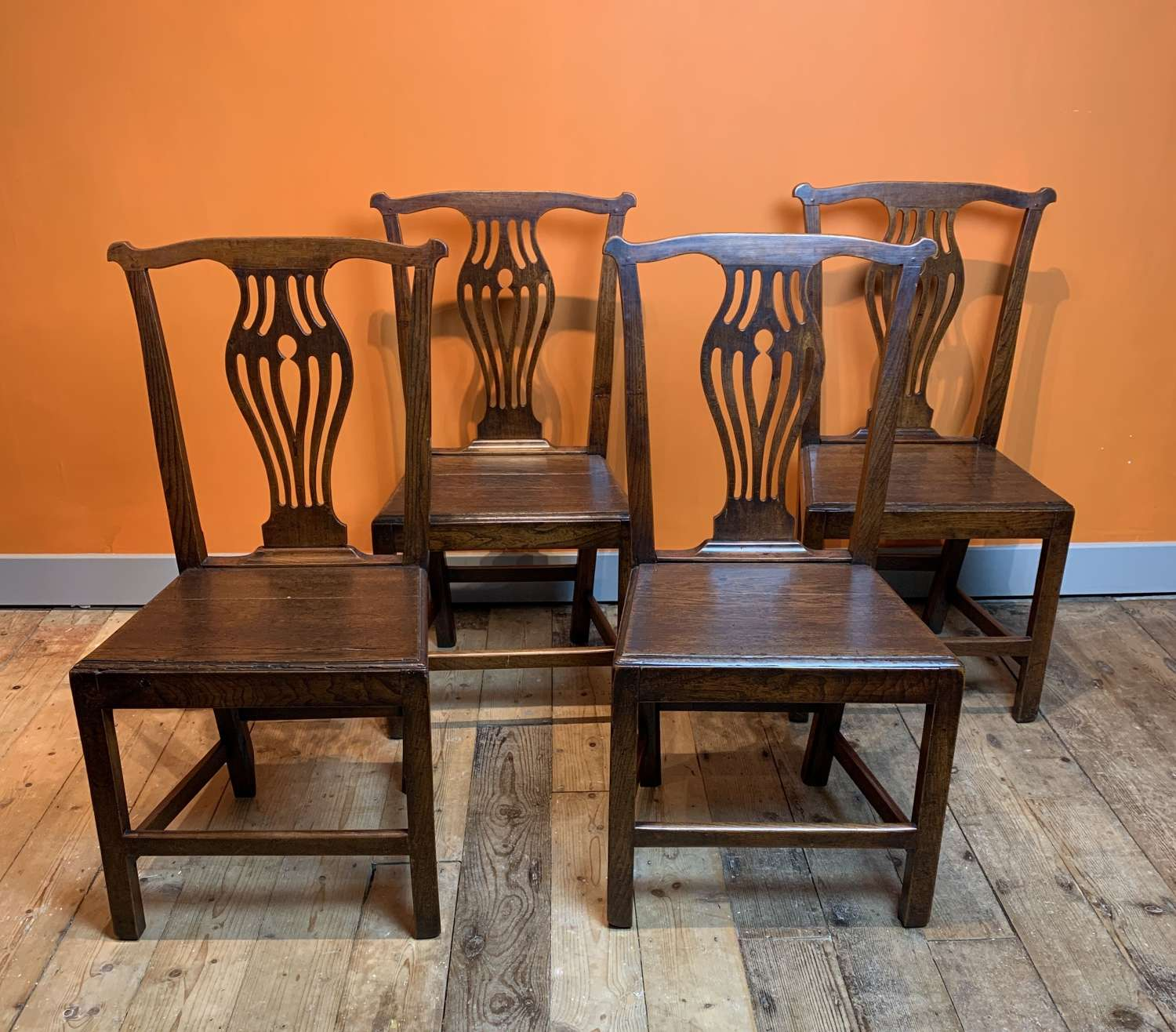 Set of Four Georgian Oak Dining Chairs with Solid Seats