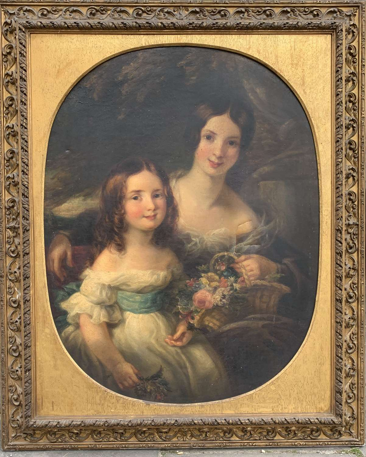 English School, circa 1860, Portrait of Two Sisters, Oil on Canvas