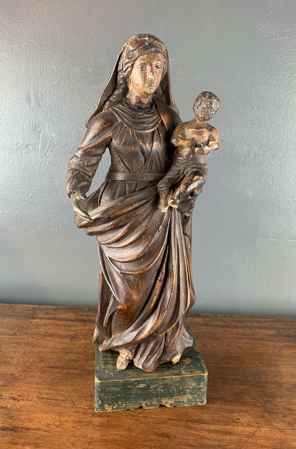 18th Century Continental carving of a Madonna and Child