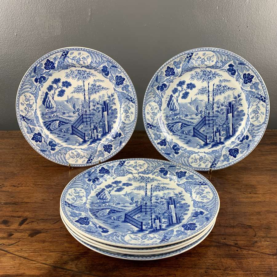 Set of Six Wedgwood Pearlware Plates in Blue Palisade Pattern