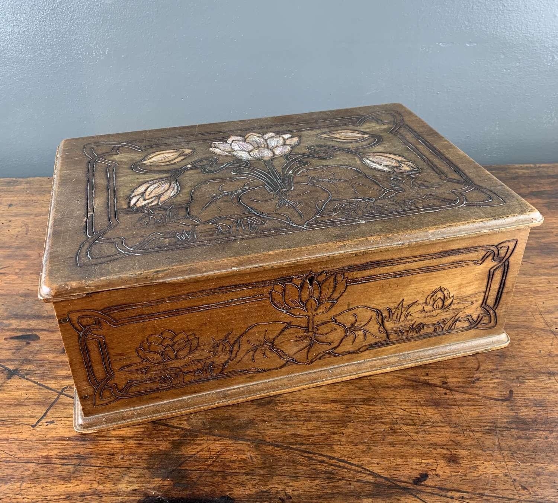 Art Nouveau Jugendstil Carved Wooden Box