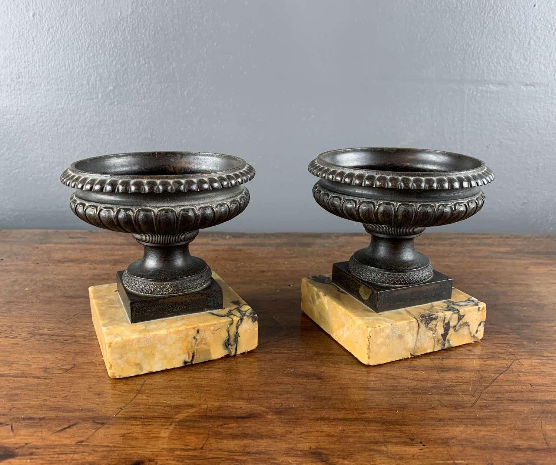 Pair of French Bronze Campana Urns
