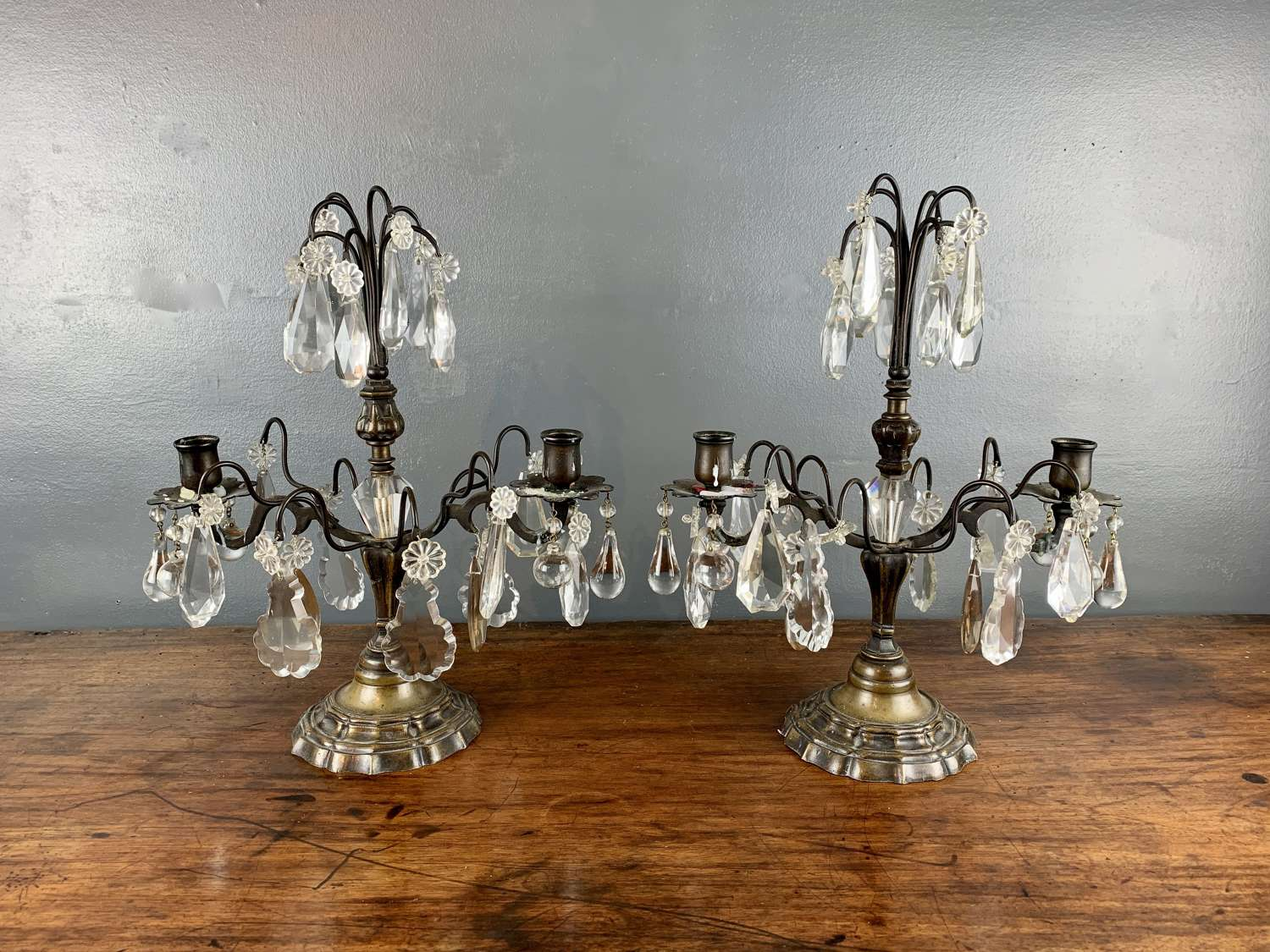 Pair of French Cut Glass Lustre Table Candelabra