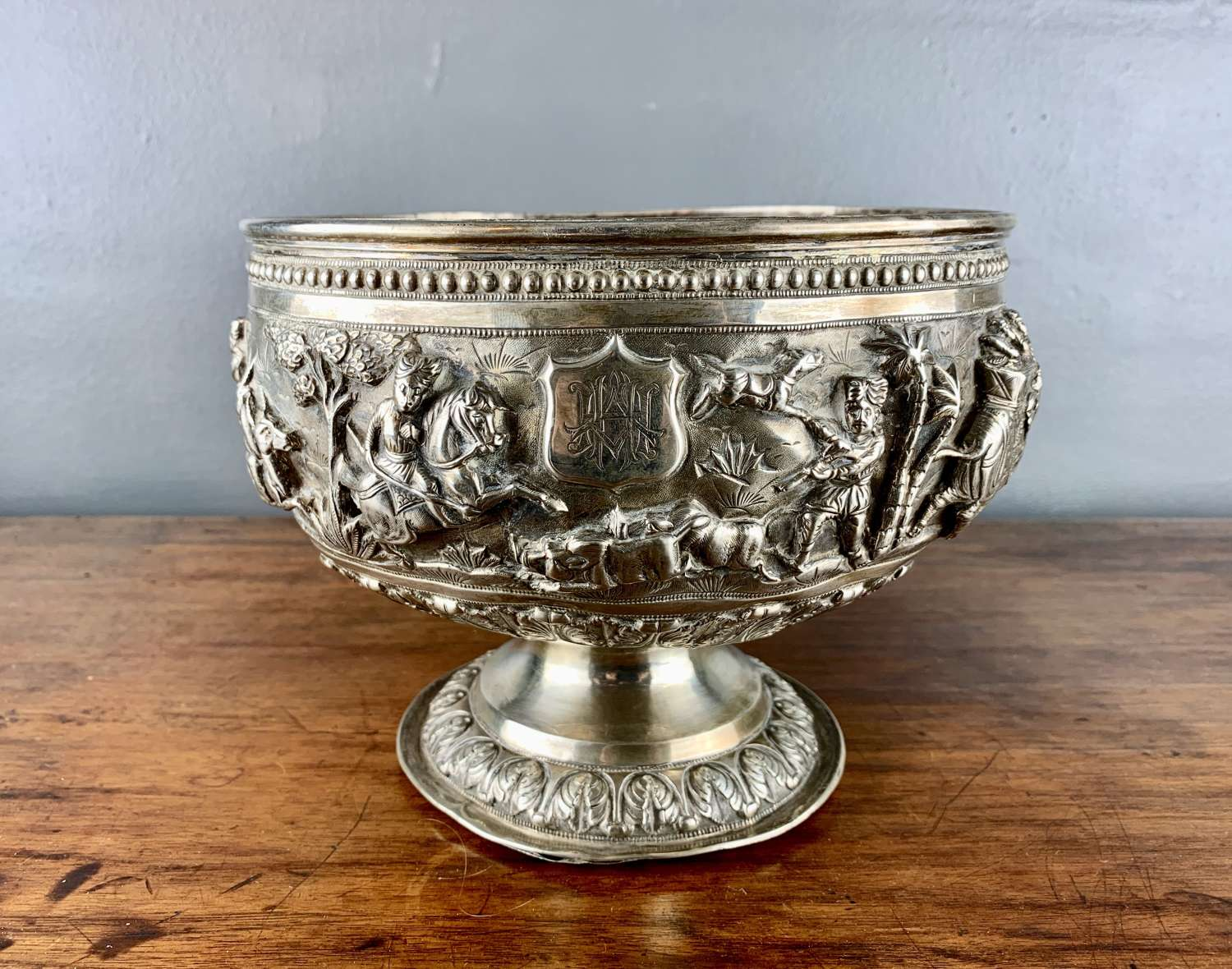Antique Silver Repousse Silver Rose Bowl with a Hunting Scene