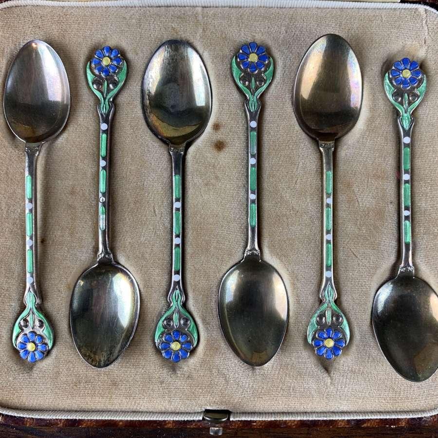Art Nouveau Silver & Enamel Spoons