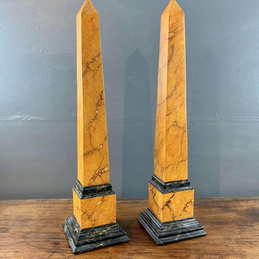Pair of Faux Siena Marble Obelisks