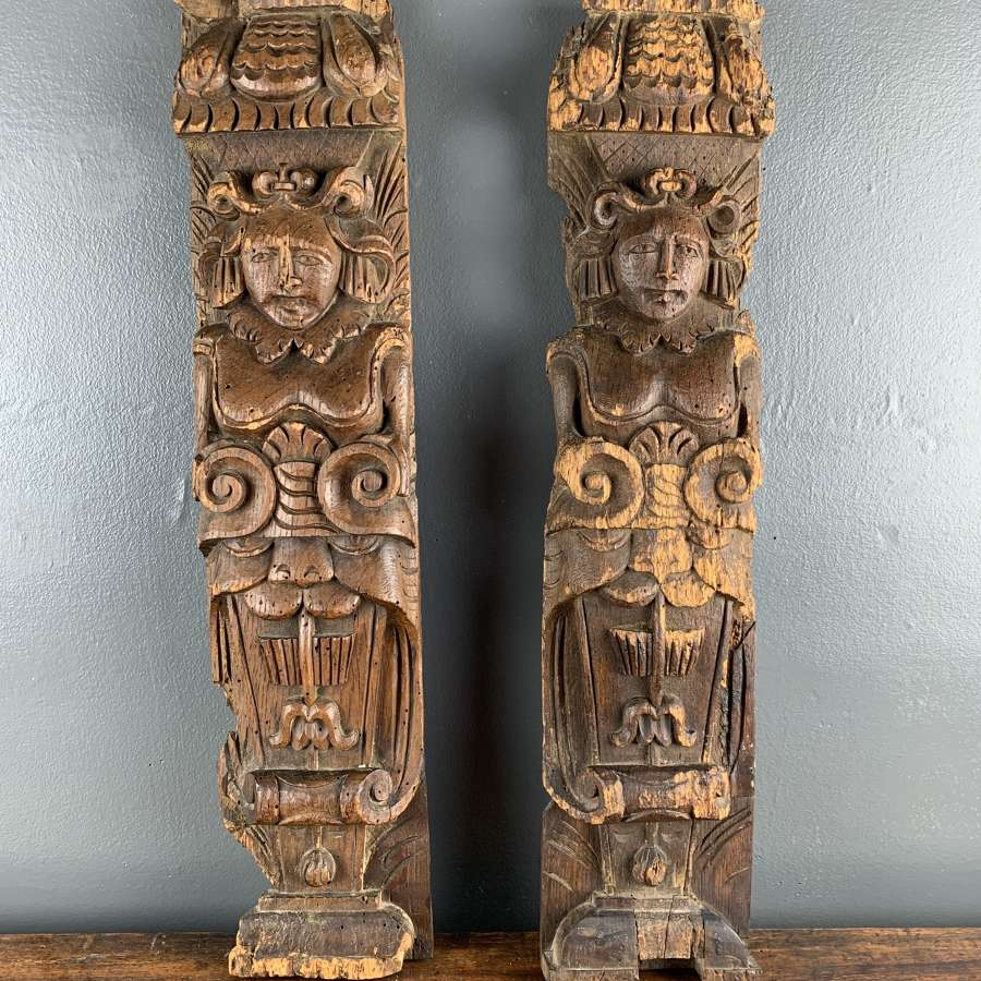 Pair of 16th Century Carved Oak Figural Terms