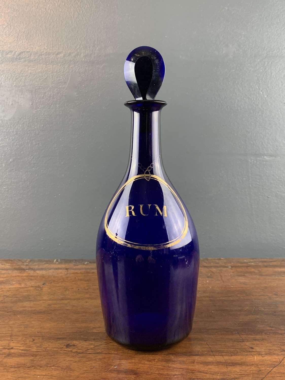 Georgian Bristol Blue Glass Rum Decanter