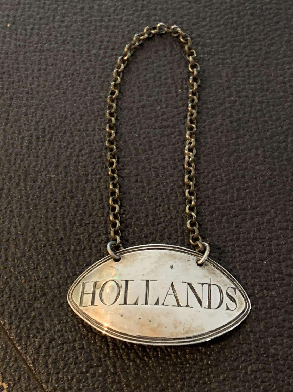 Georgian Silver Hollands Decanter Label 1792