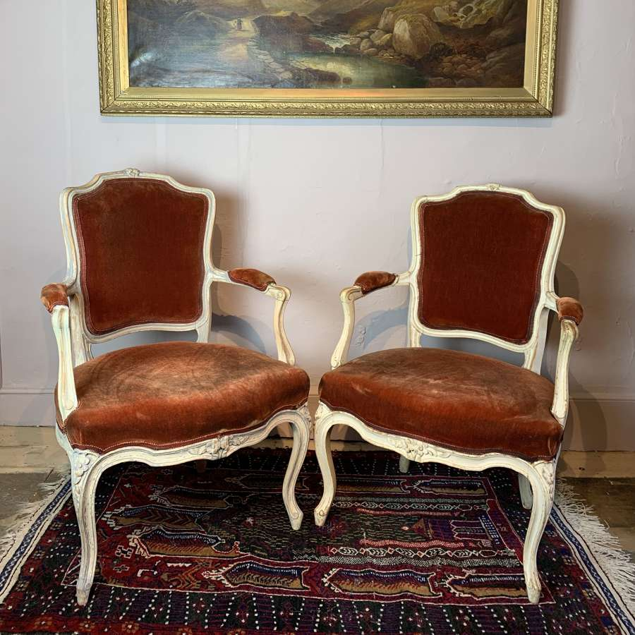 Pair of French Louis XV Revival Painted Fauteuils