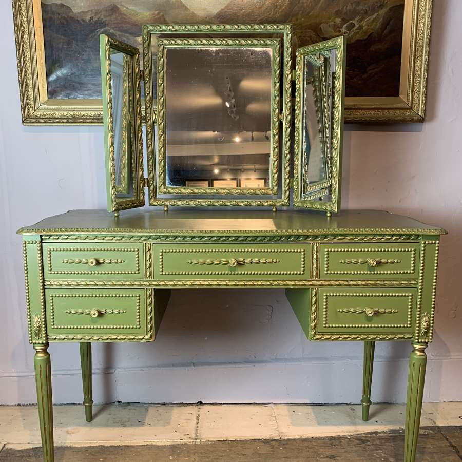 Vintage Painted Dressing Table & Triptych Mirror in Louis XVI Style